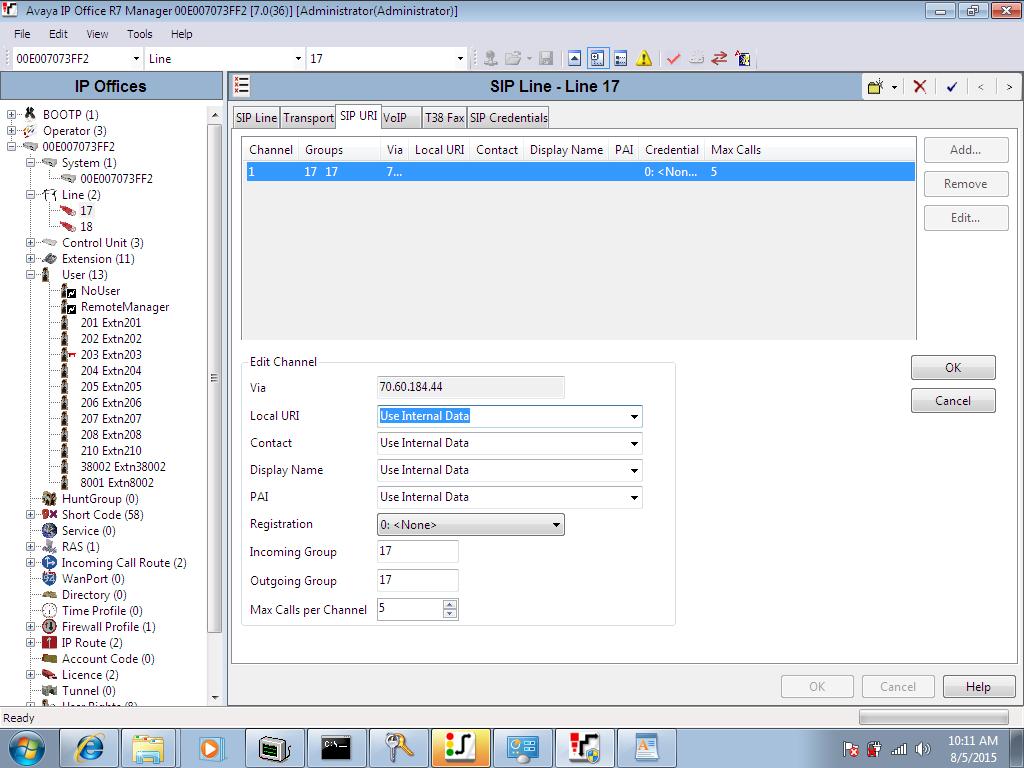 SIPTRUNK com Avaya IP Office V 8 0+ Digest Authentication Method
